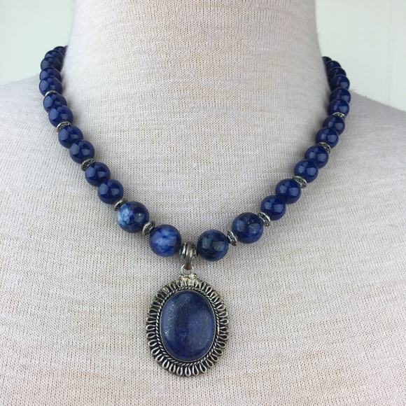 Jewelry - Handmade Lapis Stone Beaded Necklace